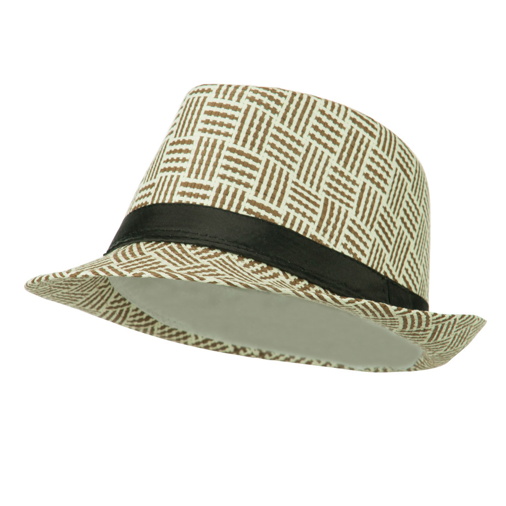 Multi Colored Straw Fedora - Brown White - Hats and Caps Online Shop - Hip Head Gear