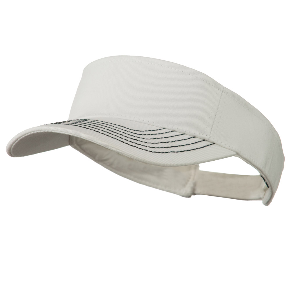 Contrast-Stitched Billed Visor - White - Hats and Caps Online Shop - Hip Head Gear