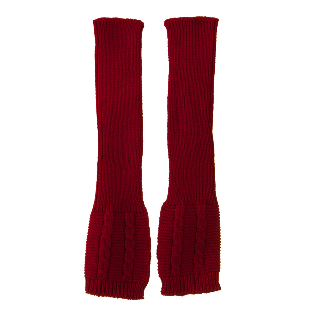 Long Sleeve Cable Stitch Arm Warmer - Red