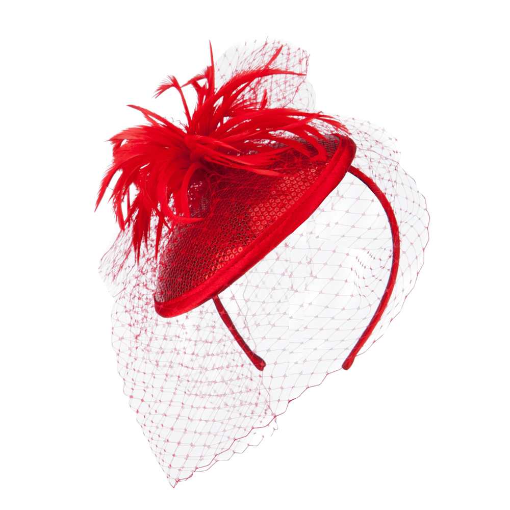 Round Crown Sequin Fascinator - Red - Hats and Caps Online Shop - Hip Head Gear