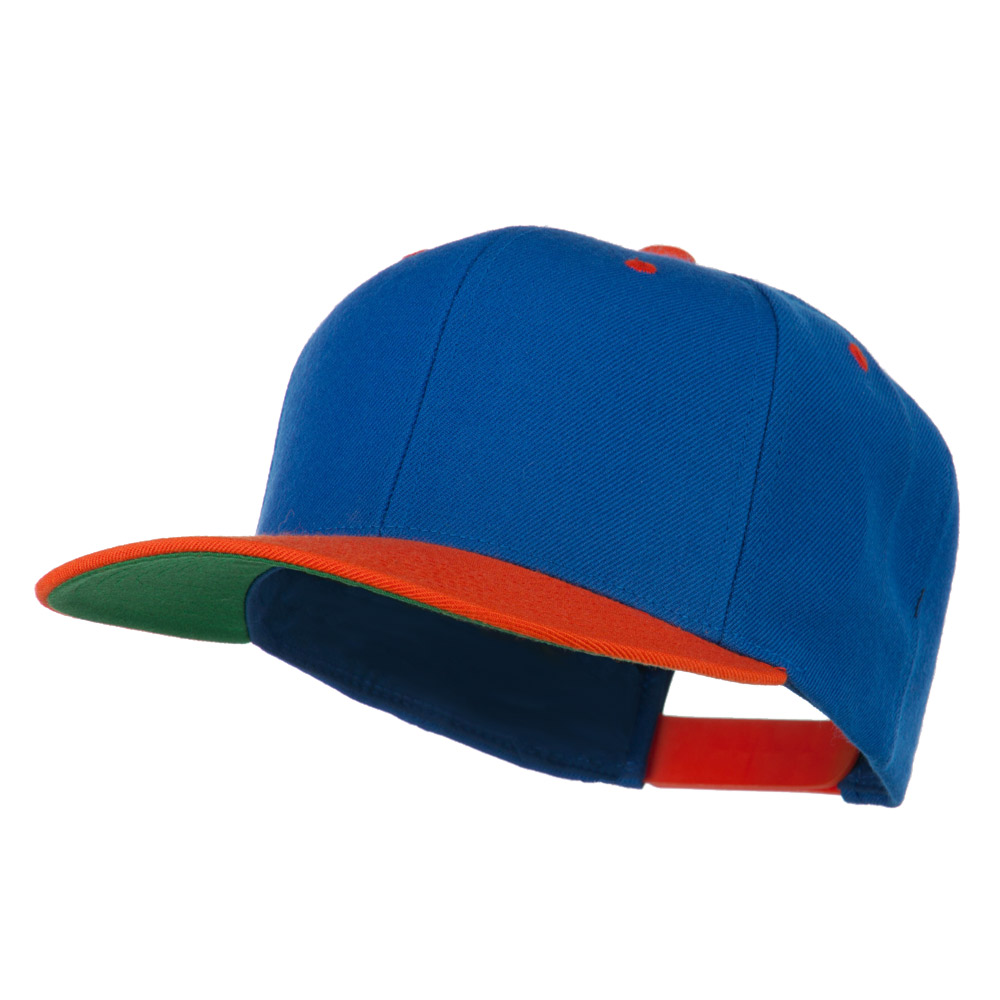 Classic Snapback Wool Blend 2 Tone Cap - Royal Orange - Hats and Caps Online Shop - Hip Head Gear