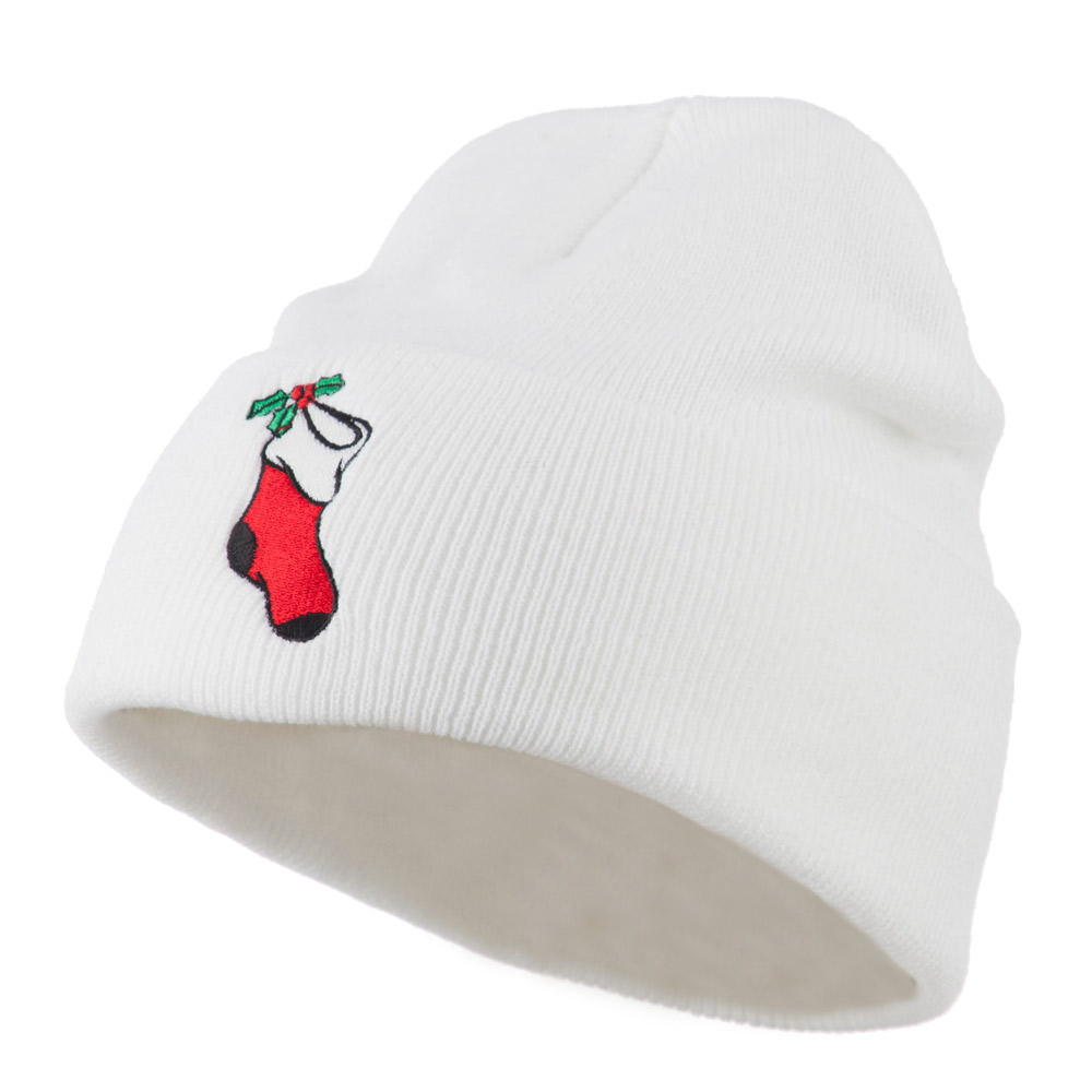 Christmas Stocking with Mistletoe Embroidered Long Beanie - White - Hats and Caps Online Shop - Hip Head Gear