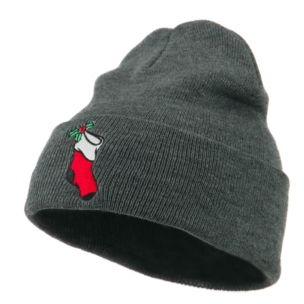 Christmas Stocking with Mistletoe Embroidered Long Beanie - Grey - Hats and Caps Online Shop - Hip Head Gear