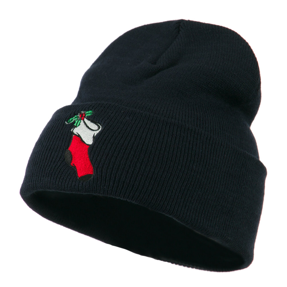 Christmas Stocking with Mistletoe Embroidered Long Beanie - Navy - Hats and Caps Online Shop - Hip Head Gear
