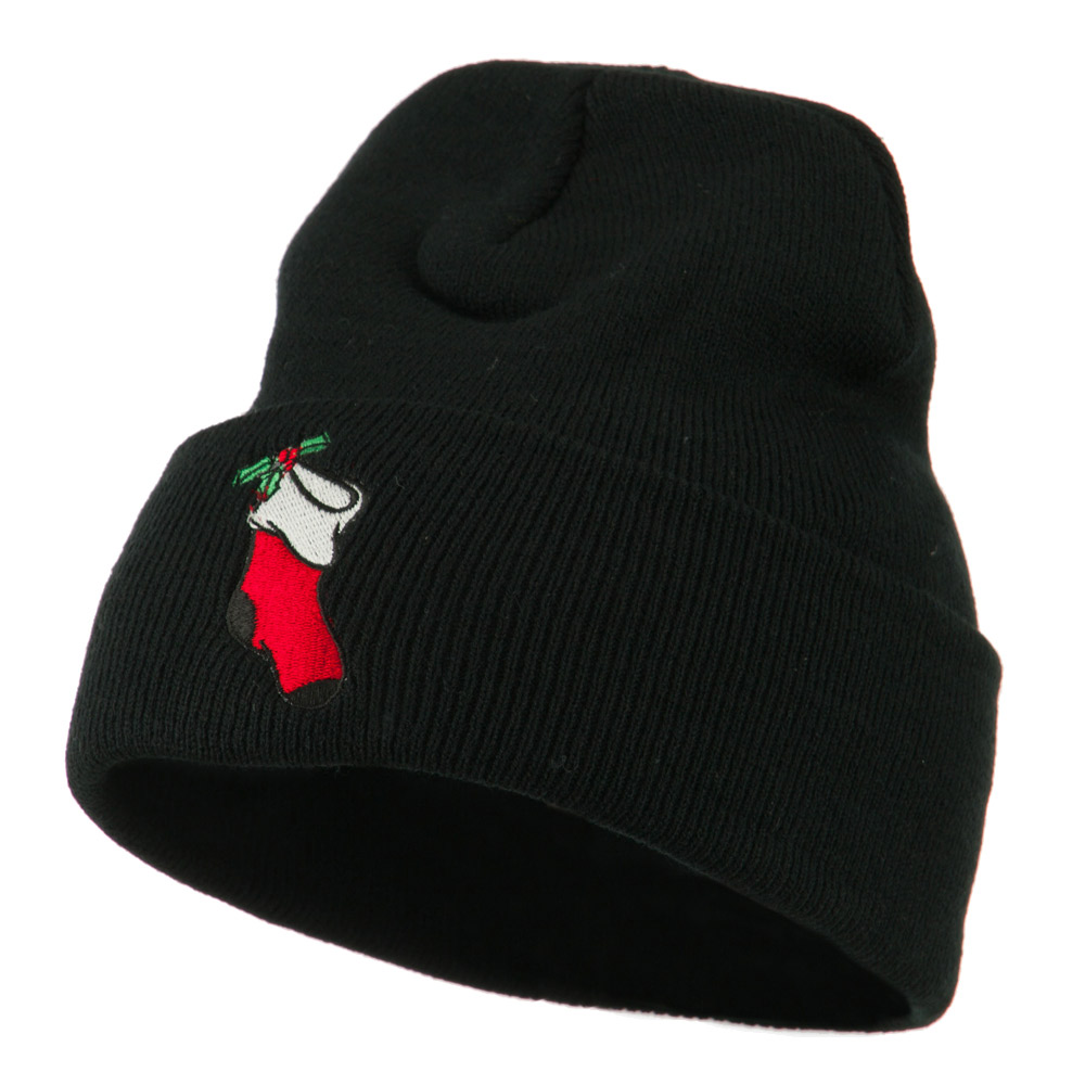 Christmas Stocking with Mistletoe Embroidered Long Beanie - Black - Hats and Caps Online Shop - Hip Head Gear