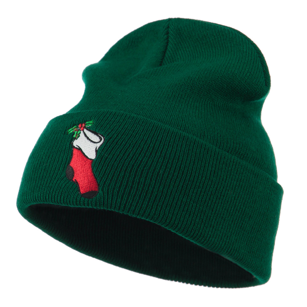 Christmas Stocking with Mistletoe Embroidered Long Beanie - Green - Hats and Caps Online Shop - Hip Head Gear