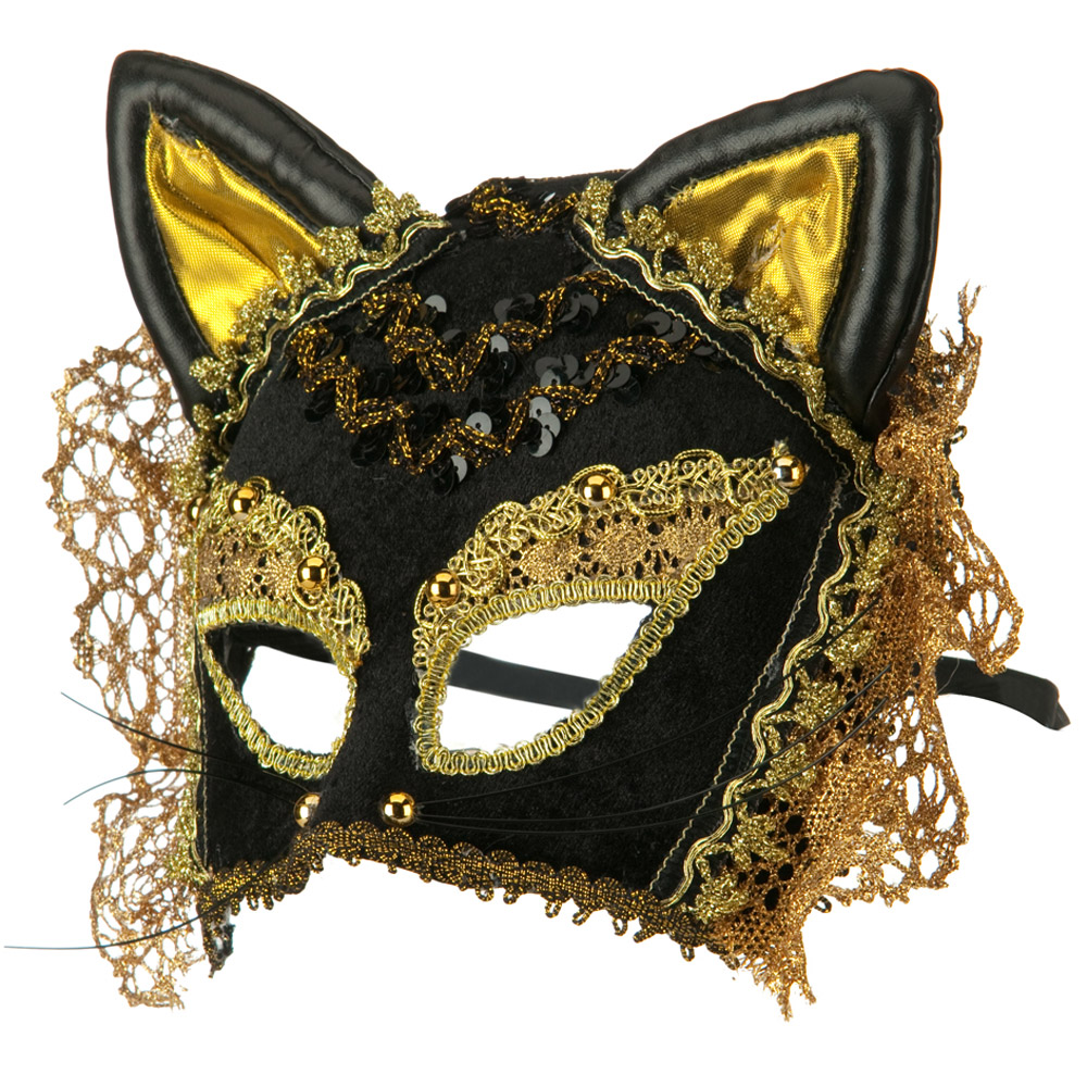 Cat Venetian Mask - Black Gold - Hats and Caps Online Shop - Hip Head Gear
