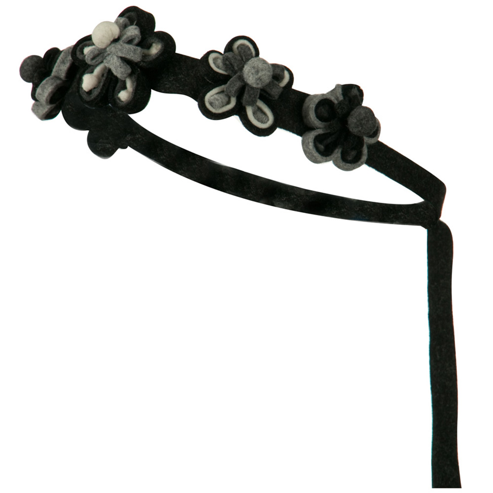 Felt Flower Chain Tie Back Hair Band - Black Grey - Hats and Caps Online Shop - Hip Head Gear