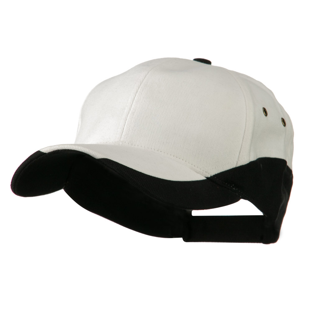 Brushed Cotton Contrasting Color Cap - White Black - Hats and Caps Online Shop - Hip Head Gear