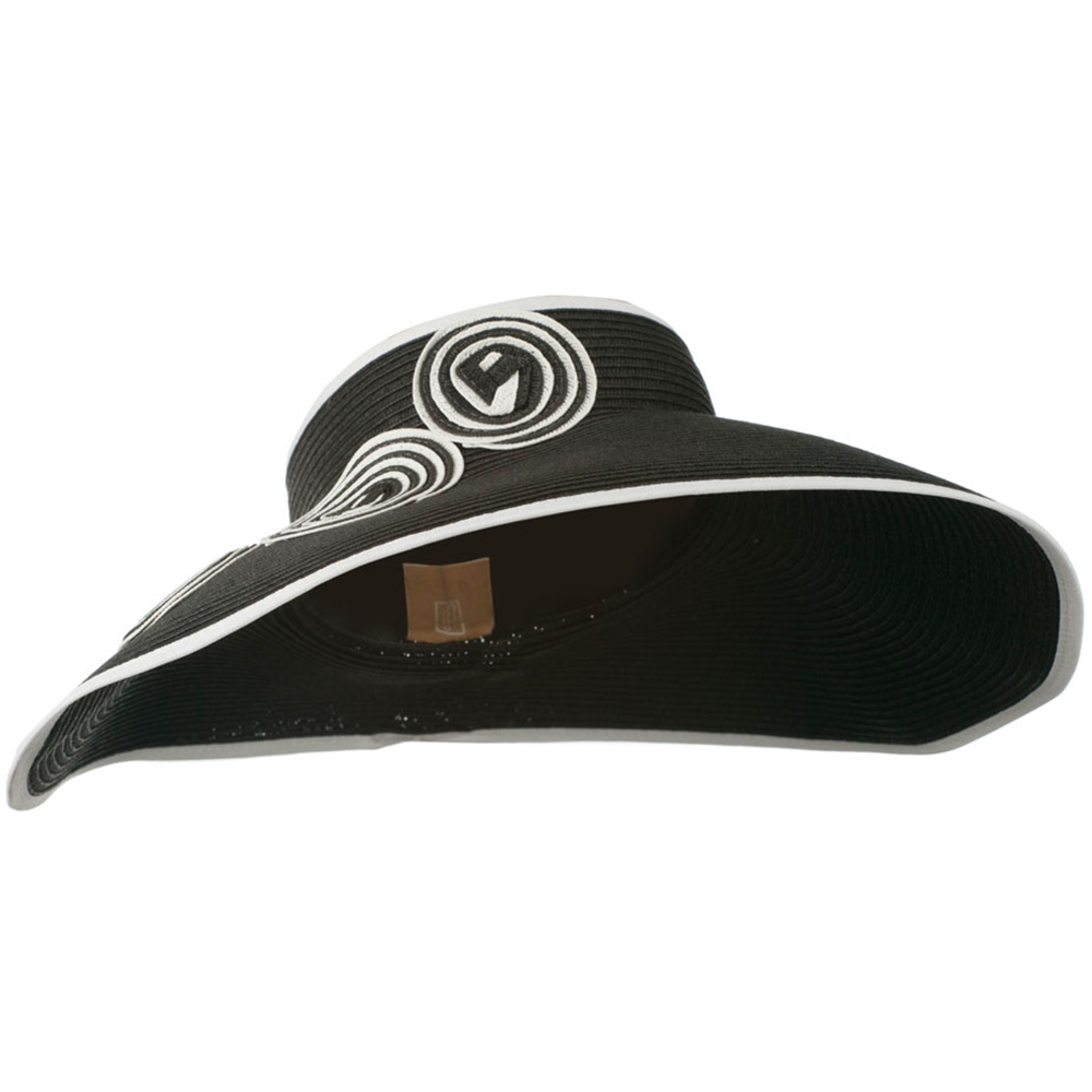 Paper Braid with Circle Trimming - Black White - Hats and Caps Online Shop - Hip Head Gear