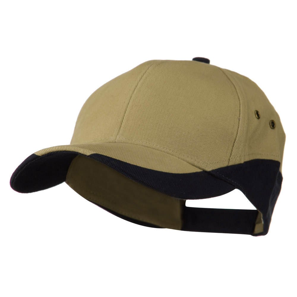 Brushed Cotton Contrasting Color Cap - Khaki Navy - Hats and Caps Online Shop - Hip Head Gear