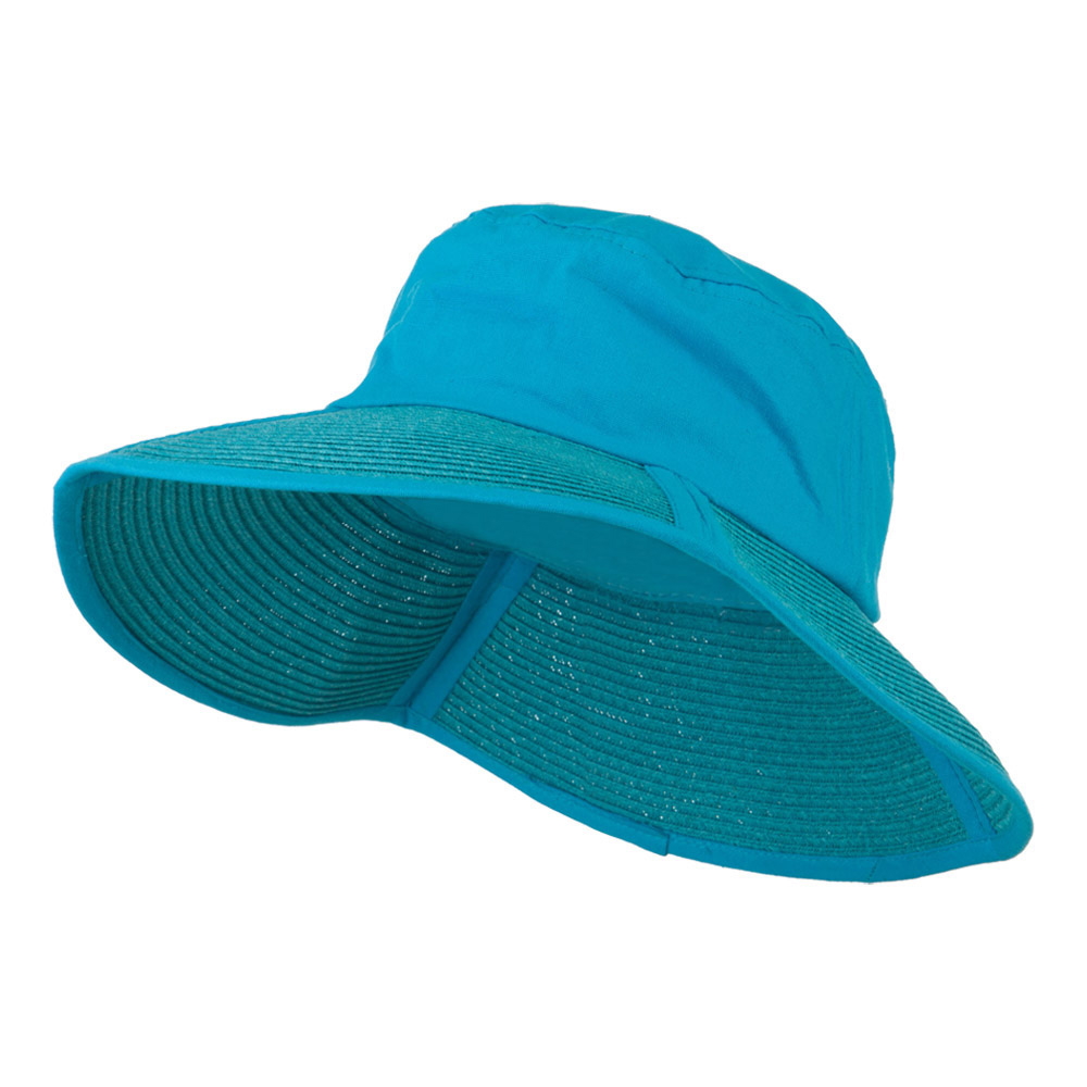 Cotton Top Foldable Wide Brim Hat - Turquoise - Hats and Caps Online Shop - Hip Head Gear