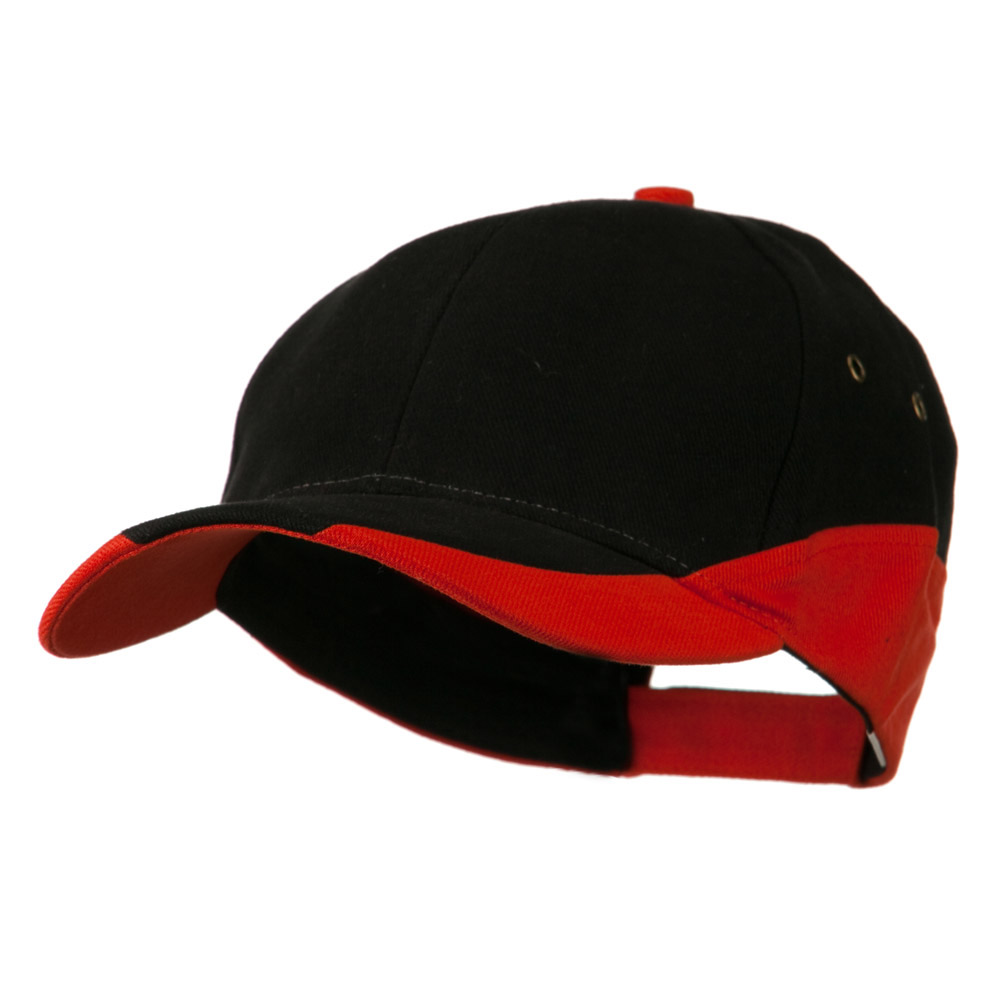 Brushed Cotton Contrasting Color Cap - Black Orange - Hats and Caps Online Shop - Hip Head Gear