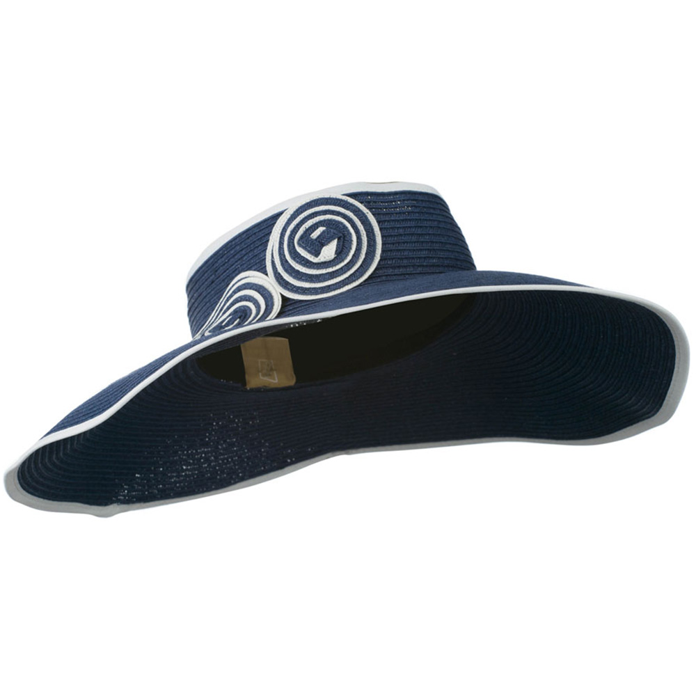Paper Braid with Circle Trimming - Navy White - Hats and Caps Online Shop - Hip Head Gear