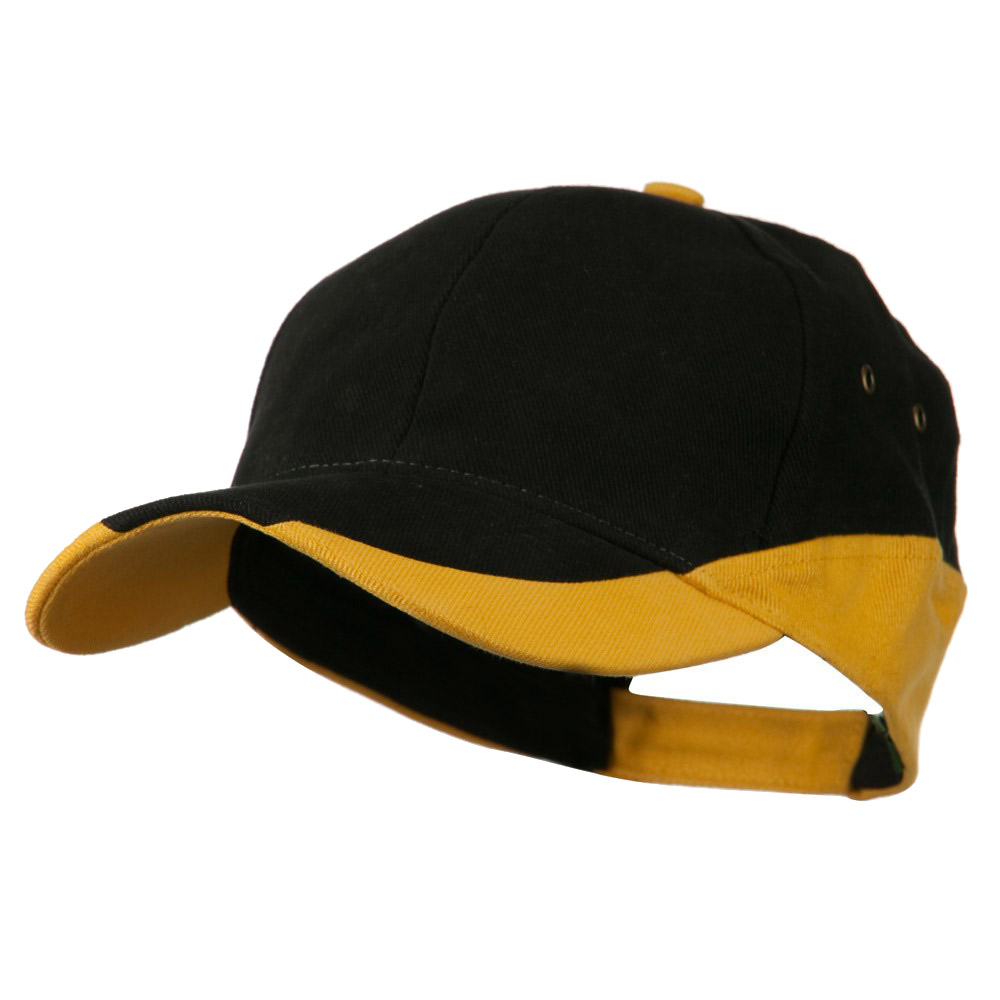 Brushed Cotton Contrasting Color Cap - Black Gold - Hats and Caps Online Shop - Hip Head Gear