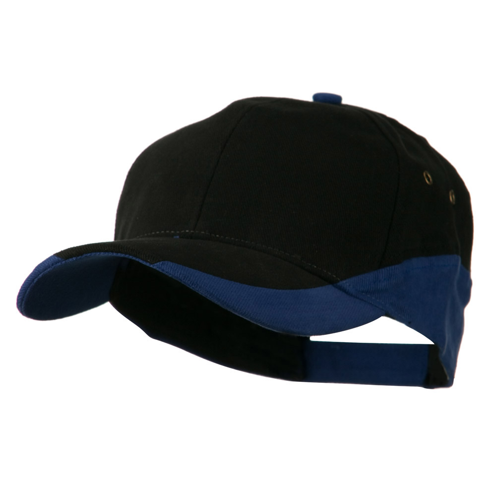 Brushed Cotton Contrasting Color Cap - Black Royal - Hats and Caps Online Shop - Hip Head Gear