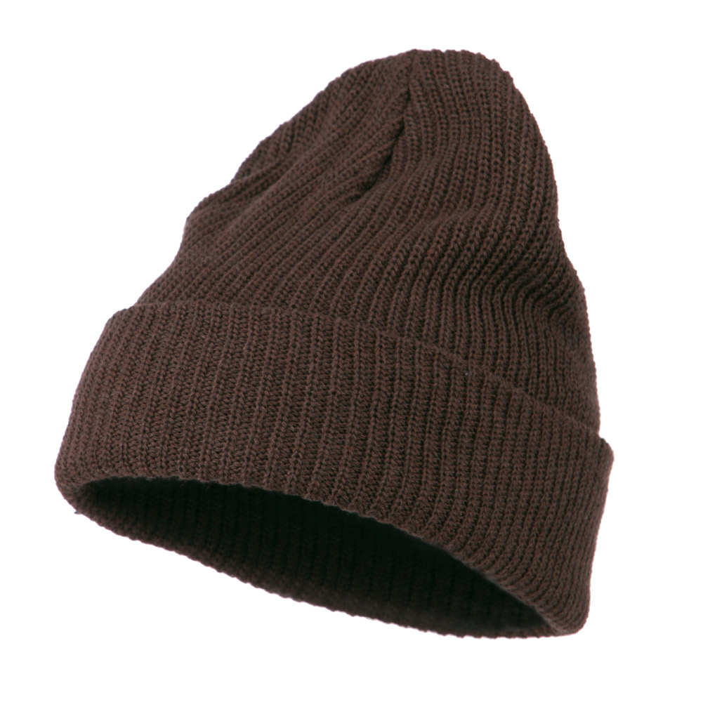 Eco Cotton Ribbed XL Cuff Beanie - Brown