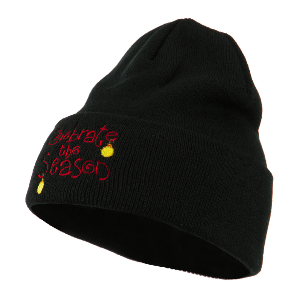 Celebrate the Season with Ornaments Embroidered Beanie - Black - Hats and Caps Online Shop - Hip Head Gear