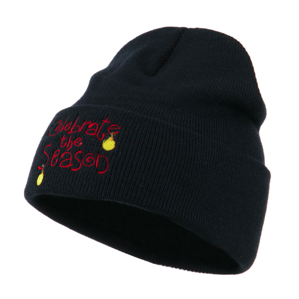 Celebrate the Season with Ornaments Embroidered Beanie - Navy - Hats and Caps Online Shop - Hip Head Gear