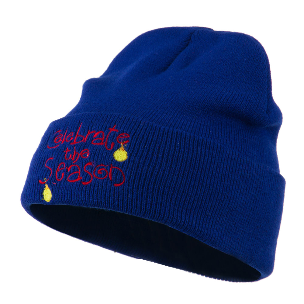 Celebrate the Season with Ornaments Embroidered Beanie - Royal - Hats and Caps Online Shop - Hip Head Gear