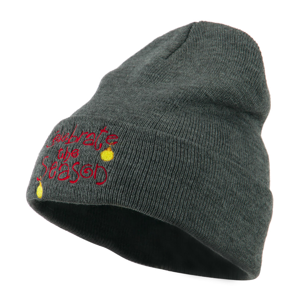 Celebrate the Season with Ornaments Embroidered Beanie - Grey - Hats and Caps Online Shop - Hip Head Gear
