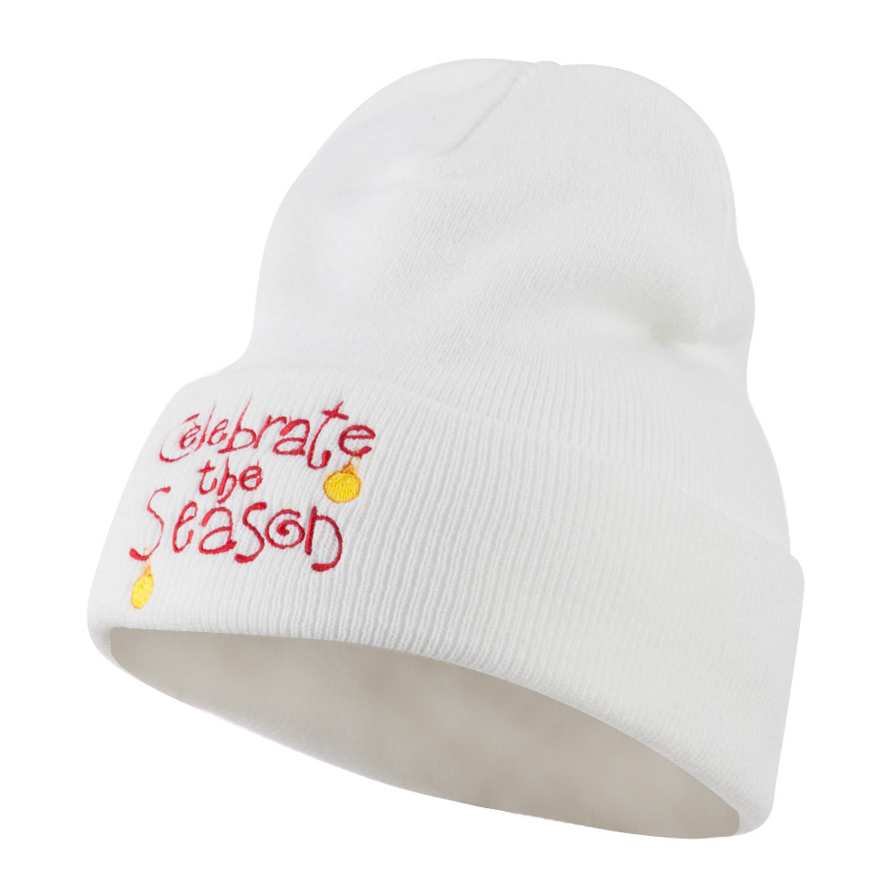 Celebrate the Season with Ornaments Embroidered Beanie - White - Hats and Caps Online Shop - Hip Head Gear