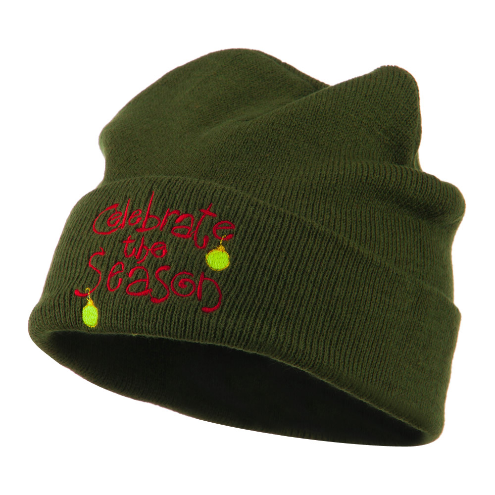 Celebrate the Season with Ornaments Embroidered Beanie - Olive - Hats and Caps Online Shop - Hip Head Gear