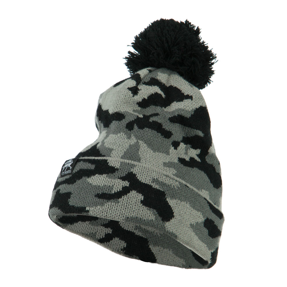 Camouflage All Over Pom Cuff Beanie - Grey - Hats and Caps Online Shop - Hip Head Gear