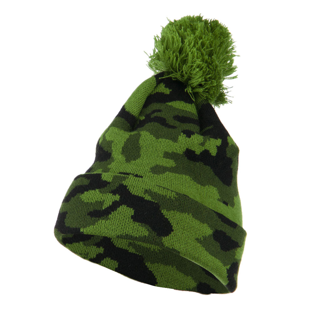 Camouflage All Over Pom Cuff Beanie - Green - Hats and Caps Online Shop - Hip Head Gear