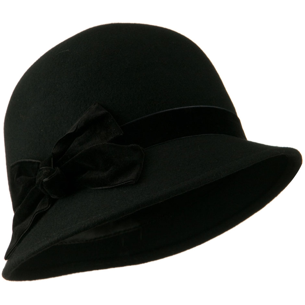 Cloche Crushed Velvet Band and Knot bow Hat - Black - Hats and Caps Online Shop - Hip Head Gear