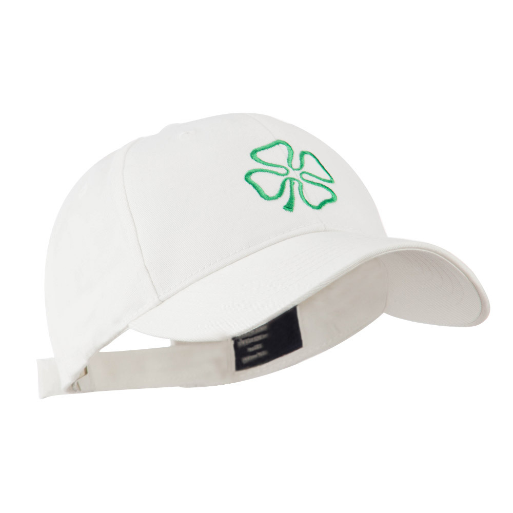 4 Leaf Clover Holiday Embroidered Cap - White - Hats and Caps Online Shop - Hip Head Gear