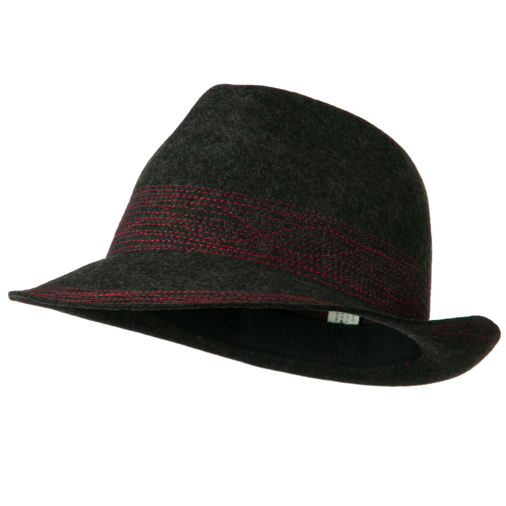 Woman's Crazy Stitching Wool Fedora Hat - Charcoal - Hats and Caps Online Shop - Hip Head Gear
