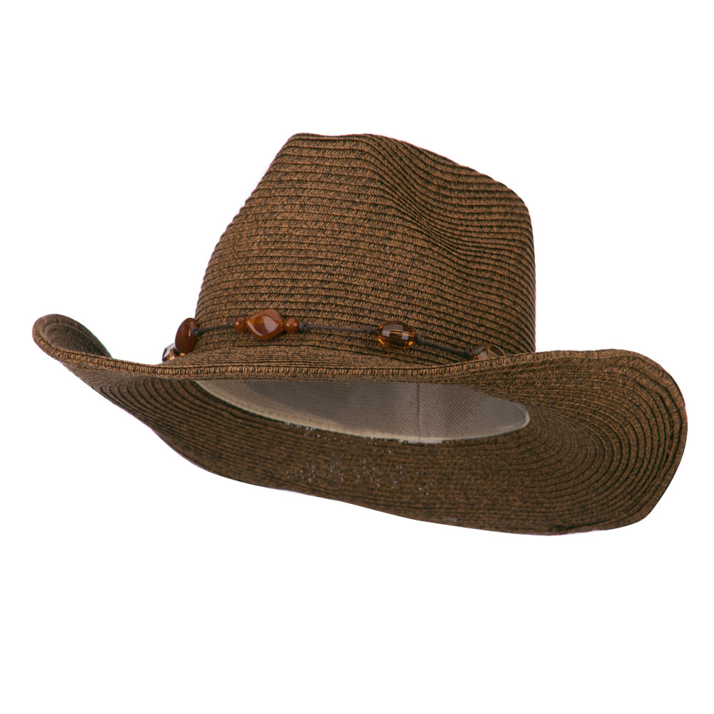 Women's Cowboy Hat with Bead Band - Brown - Hats and Caps Online Shop - Hip Head Gear