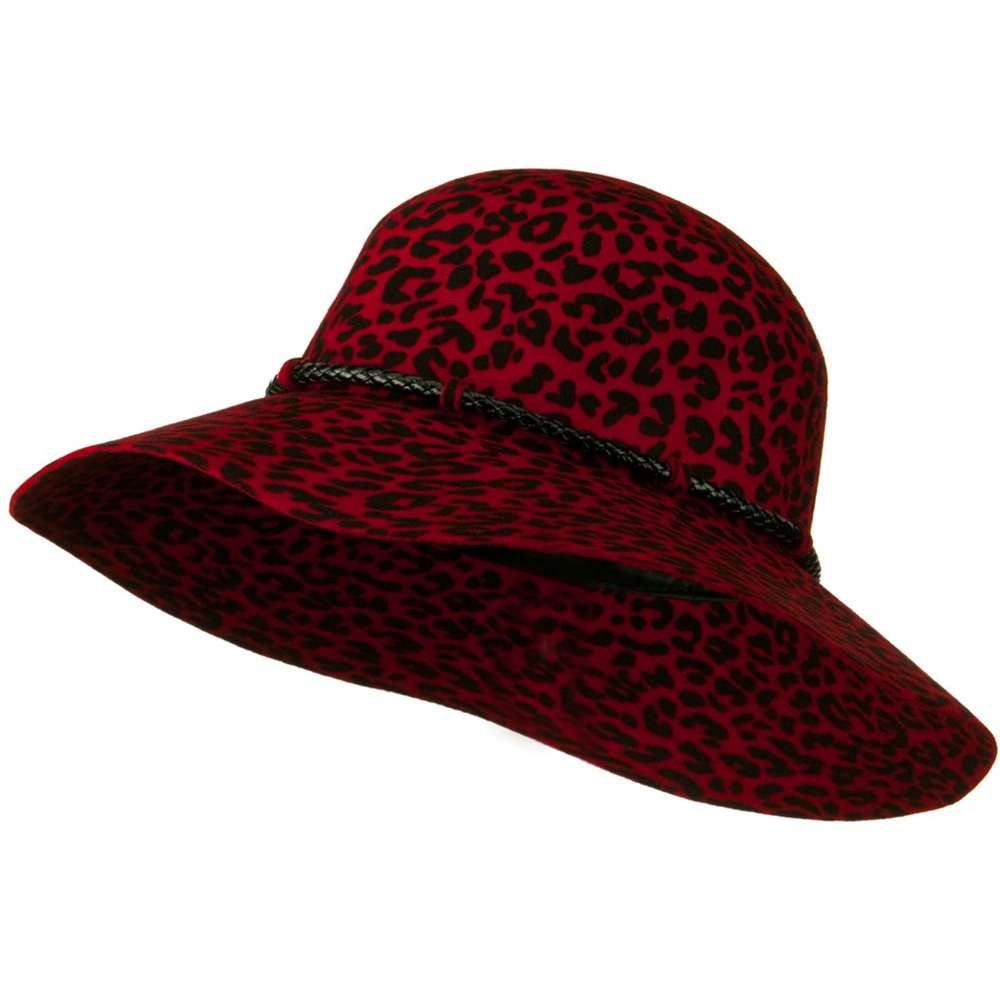 Cheetah Wide Brim Woman's Hat - Red - Hats and Caps Online Shop - Hip Head Gear