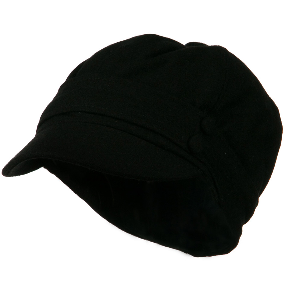 Cory Wool 2 Button Newsboy Hat - Black - Hats and Caps Online Shop - Hip Head Gear