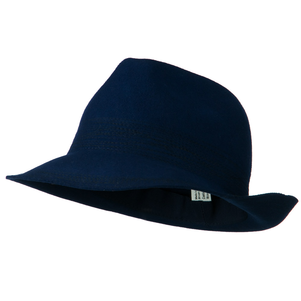 Woman's Crazy Stitching Wool Fedora Hat - Royal Blue - Hats and Caps Online Shop - Hip Head Gear