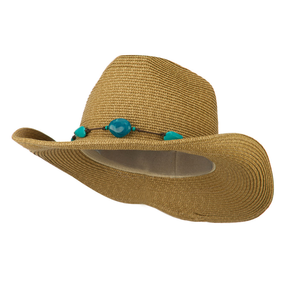 Women's Cowboy Hat with Bead Band - Natural - Hats and Caps Online Shop - Hip Head Gear