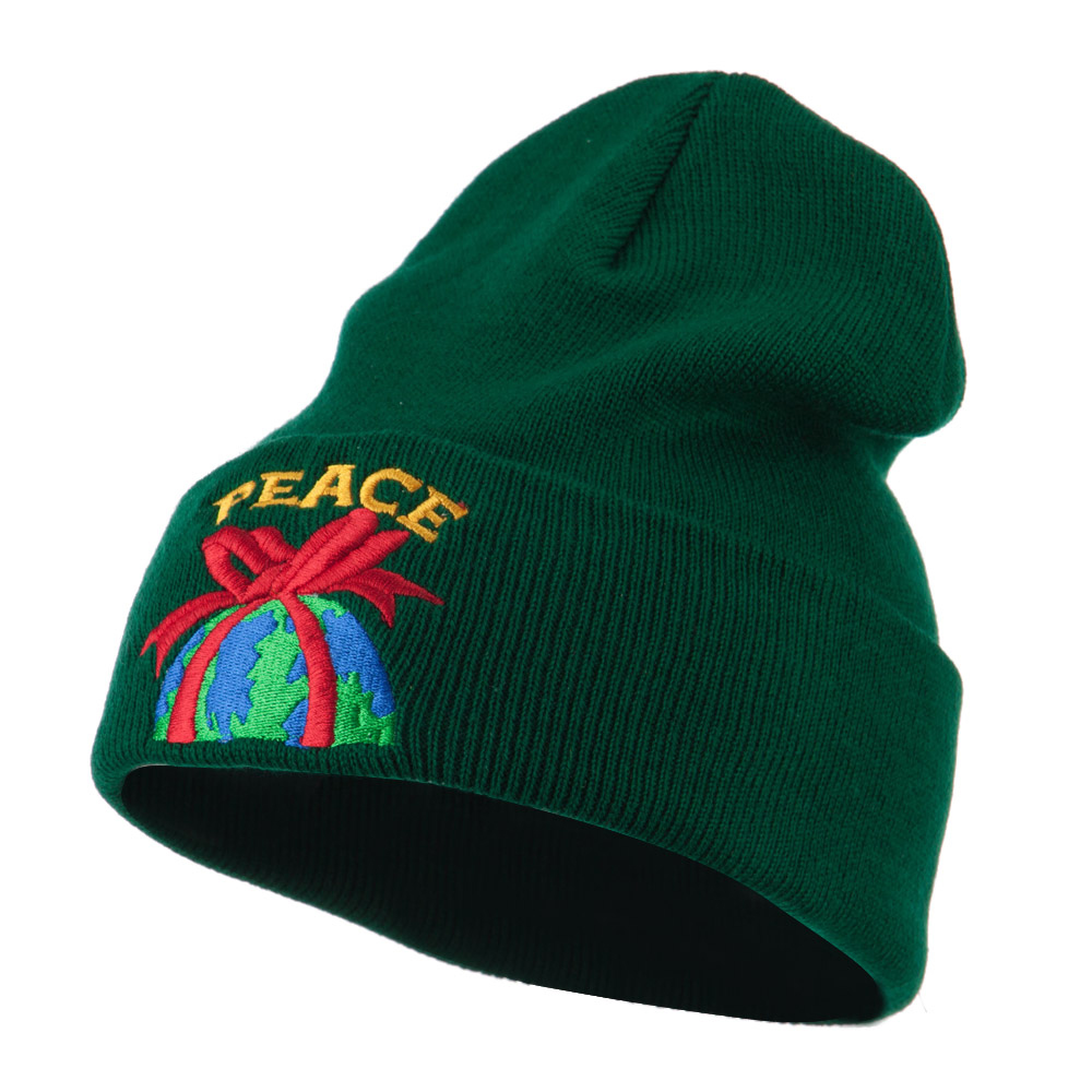 Christmas World Peace Embroidered Beanie - Green - Hats and Caps Online Shop - Hip Head Gear