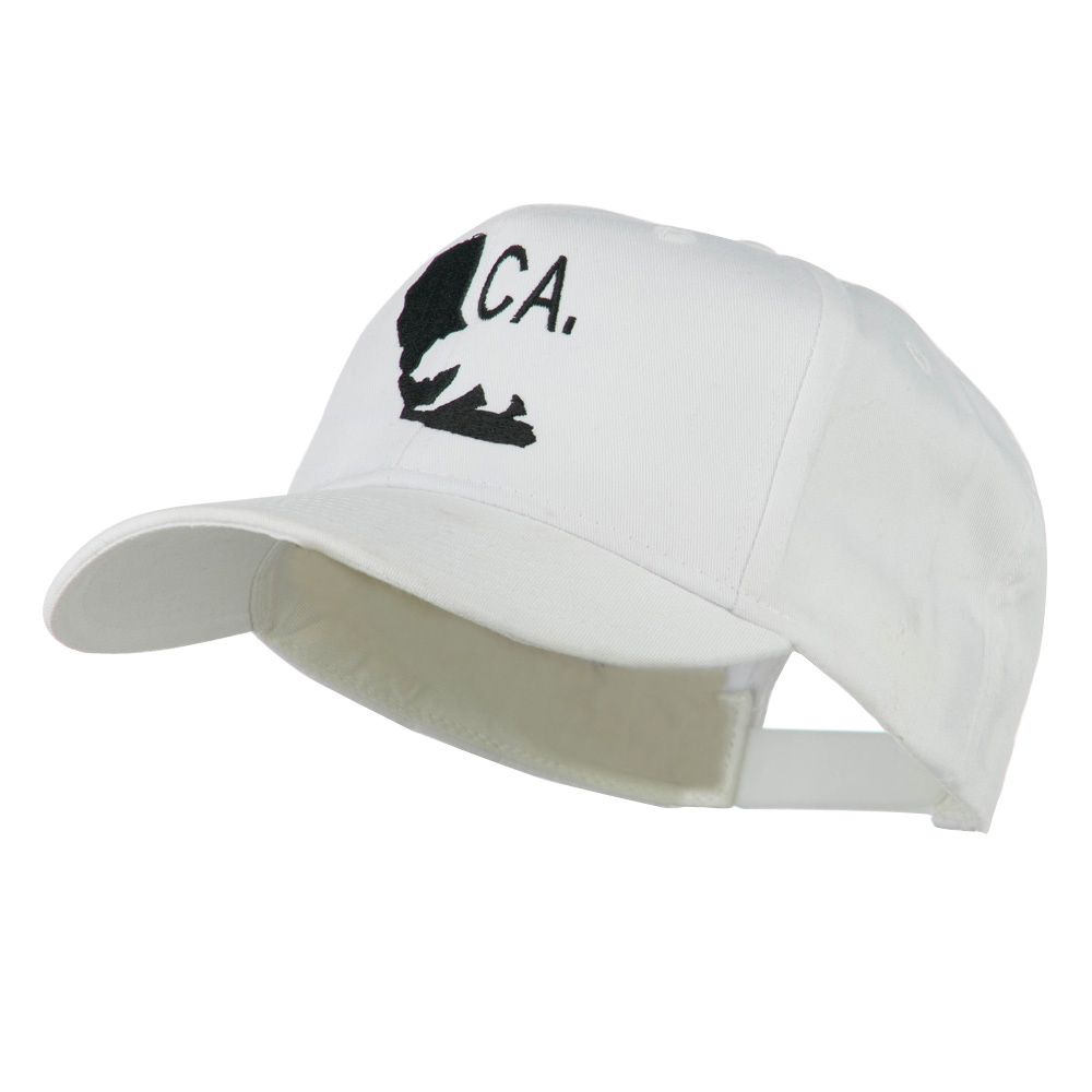 California with Bear Embroidered Cap - White - Hats and Caps Online Shop - Hip Head Gear
