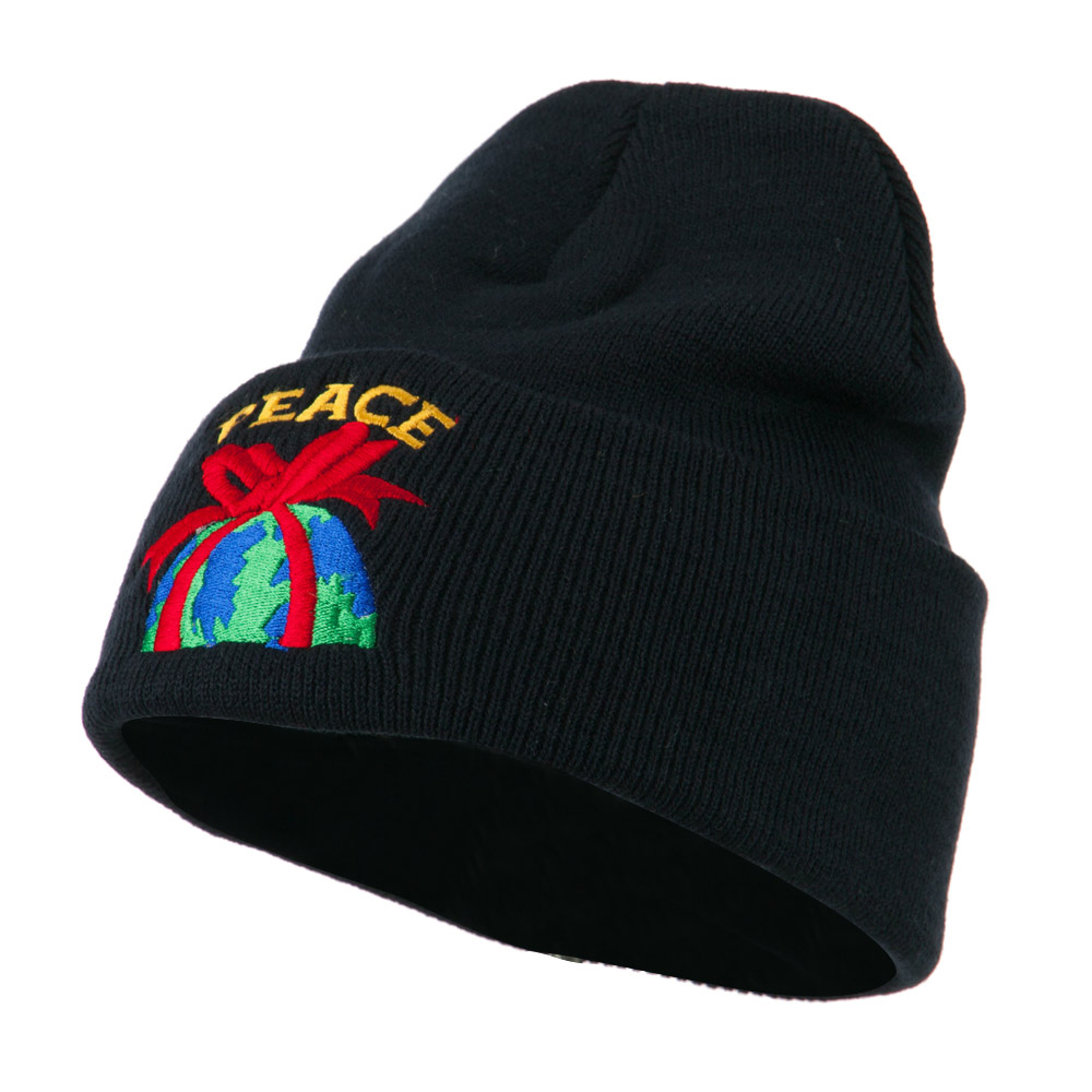 Christmas World Peace Embroidered Beanie - Navy - Hats and Caps Online Shop - Hip Head Gear