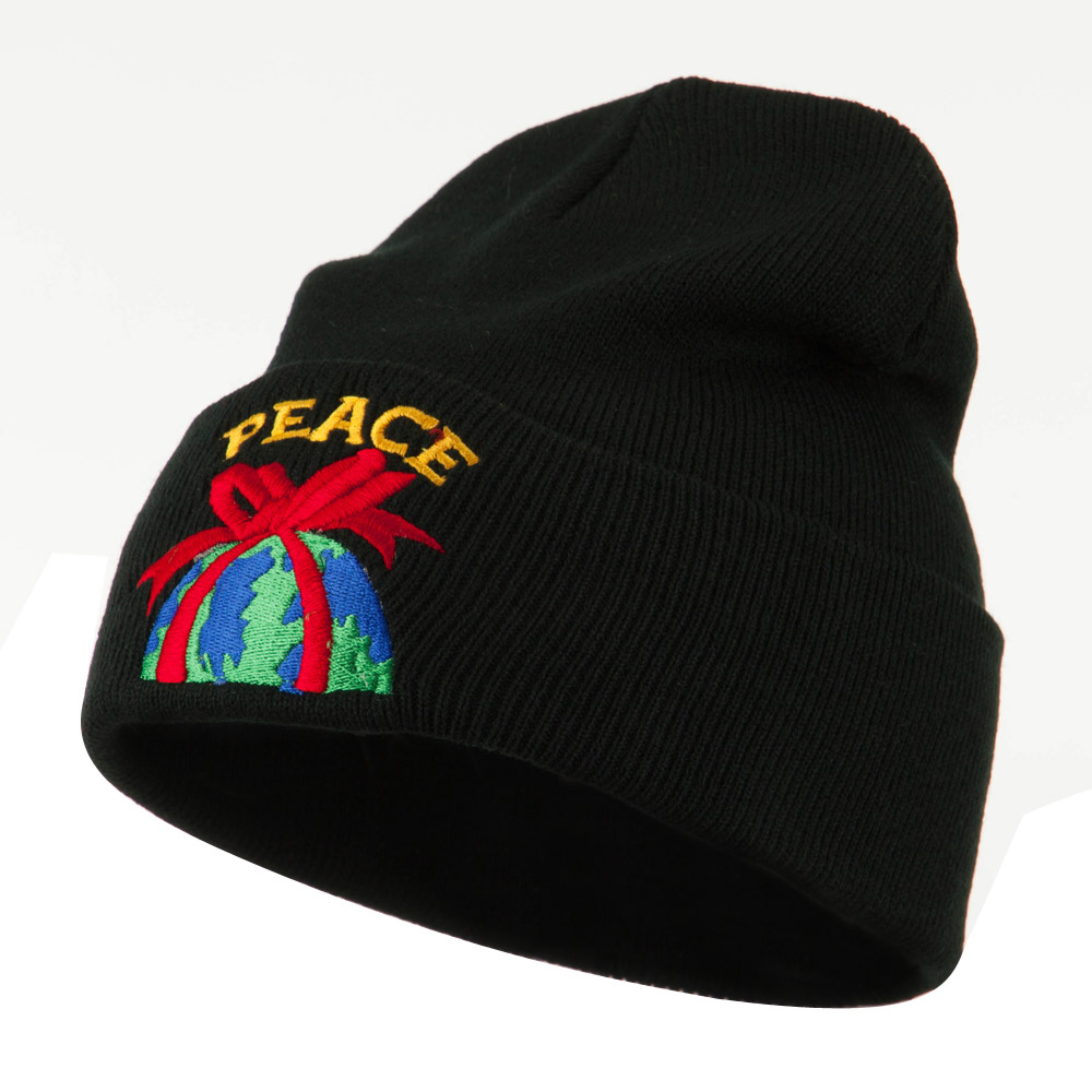 Christmas World Peace Embroidered Beanie - Black - Hats and Caps Online Shop - Hip Head Gear