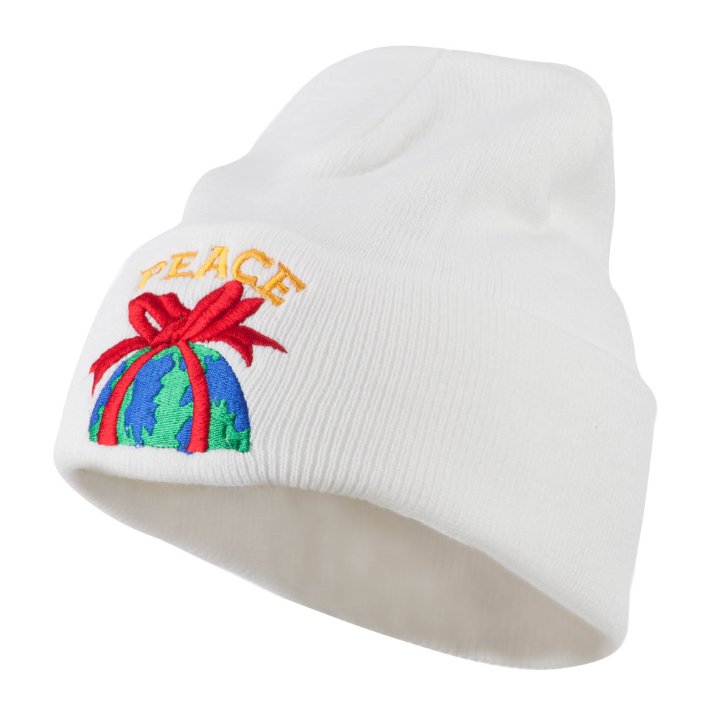 Christmas World Peace Embroidered Beanie - White - Hats and Caps Online Shop - Hip Head Gear