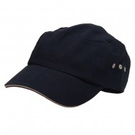 Brushed Canvas Bicycle Caps-Navy Natural