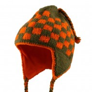 Checker Jacquard Beanie-Orange Green