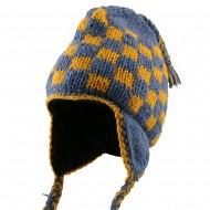 Checker Jacquard Beanie-Yellow Blue