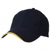 Deluxe Brushed Cotton Twill Caps-Navy Gold
