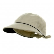 Piping Decoration Ladies Canvas Cap-Putty