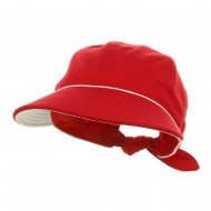 Piping Decoration Ladies Canvas Cap-Red