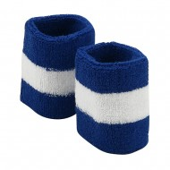 Terry Stripe Wristband Pair-Royal White