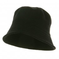 Wool Bucket Hat with Stitches-Black